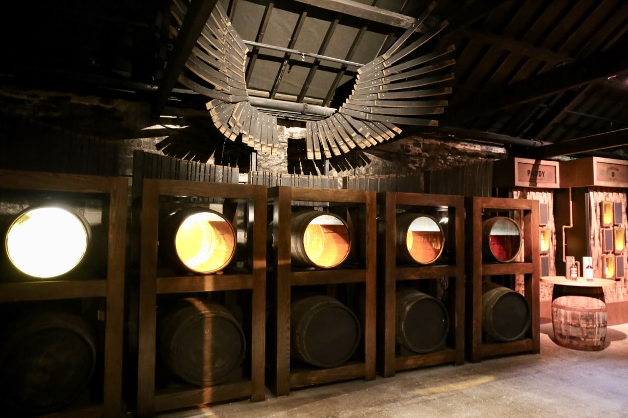 Near the end of your tour you'll enjoy an artfully displayed whiskey exhibit.