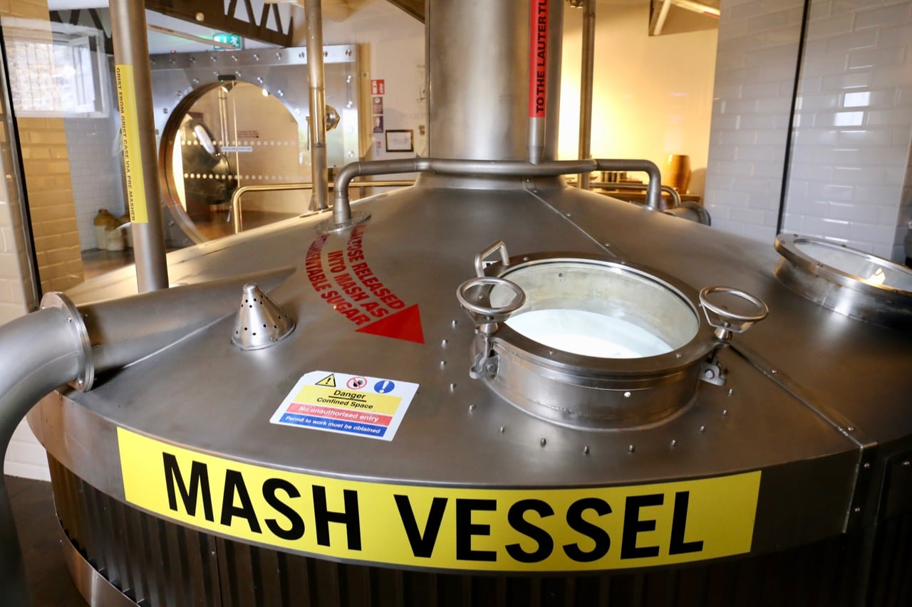 Peak into a massive mash vessel to learn about the brewing process.