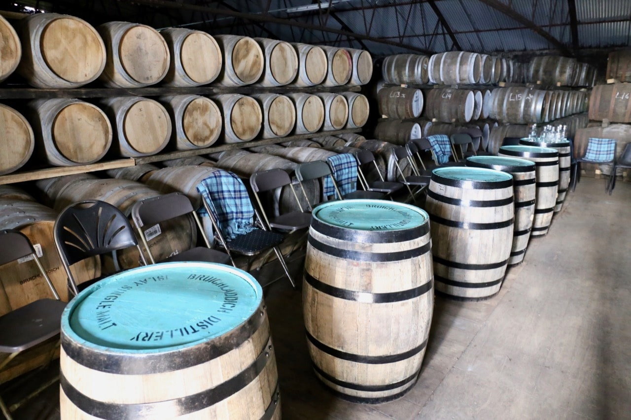 Take a tour of Bruichladdich's barrel aging room.