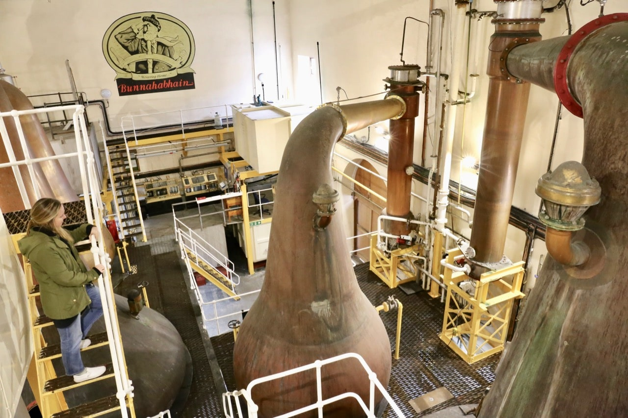 Take a tour of Bunnahabhain's ancient whisky stills.