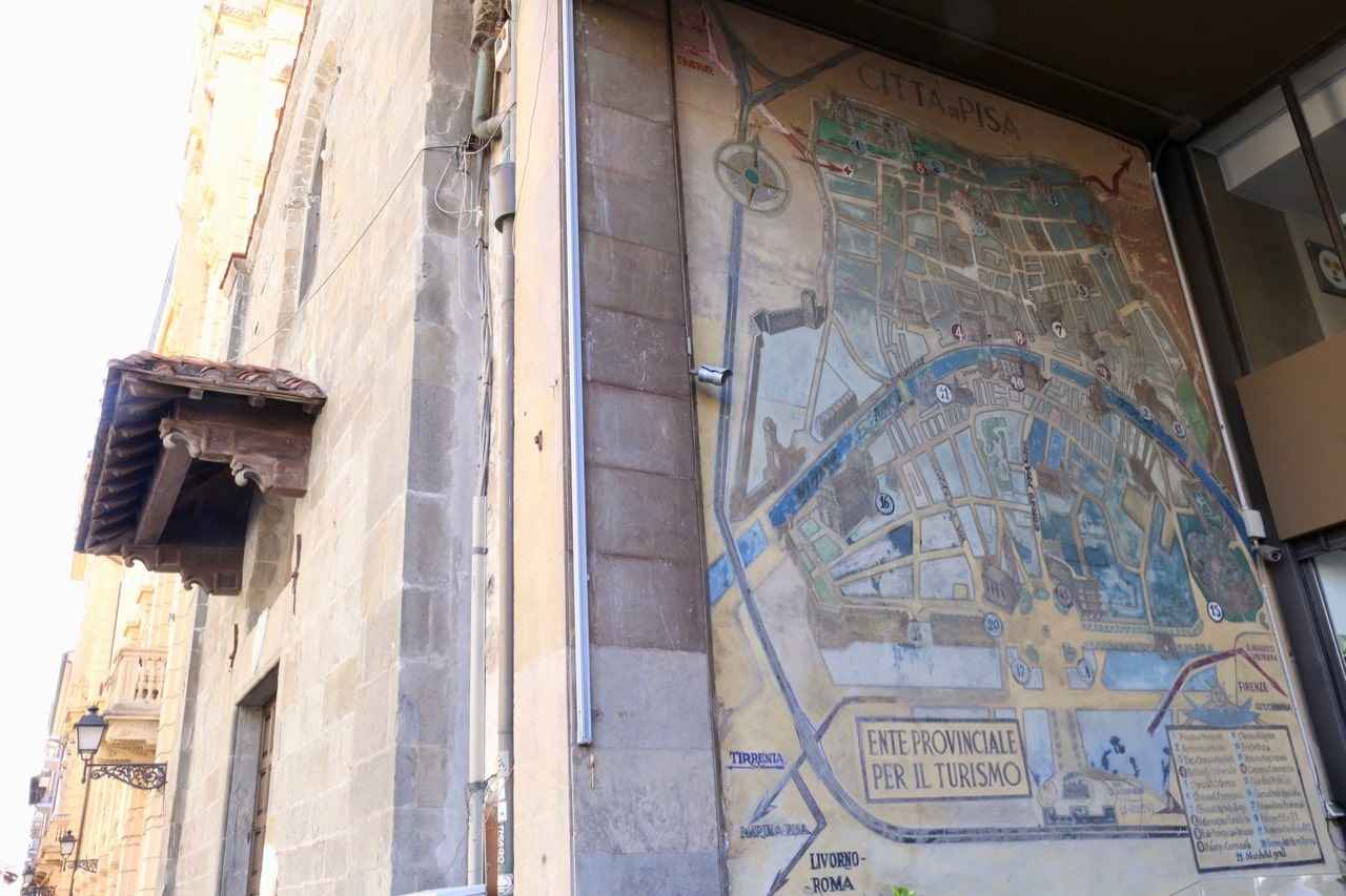 The best Pisa attractions can be found painted on a vintage street map.