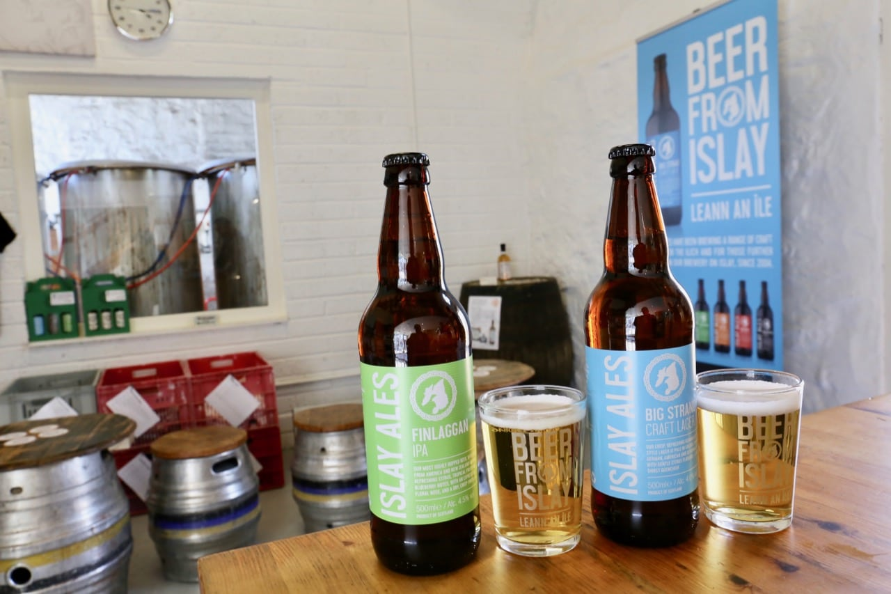 Beer aficionados enjoy sips at Islay Ales, the island's only craft brewery.