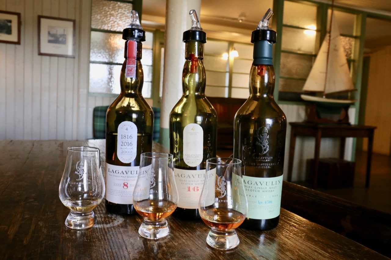 Sip a selection of award-winning single malt whiskies at Lagavulin Distillery.