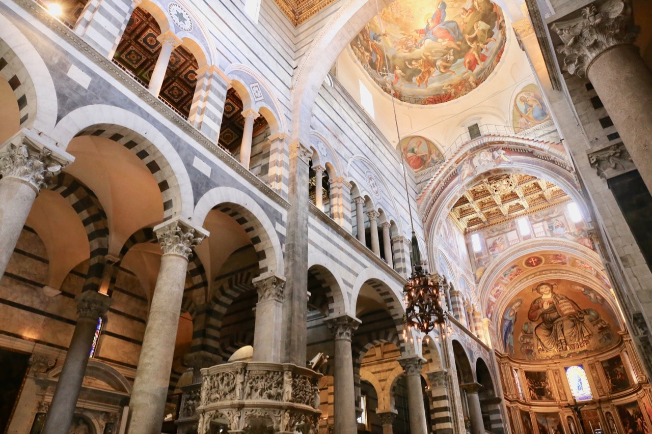 Be sure to look up while walking through the Pisa Cathedral.