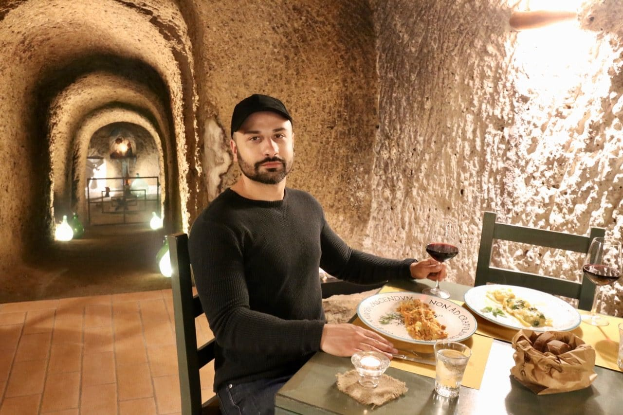 The best restaurant in Sorano Italy is Cantina L'Ottava Rima, located in an old wine cave.
