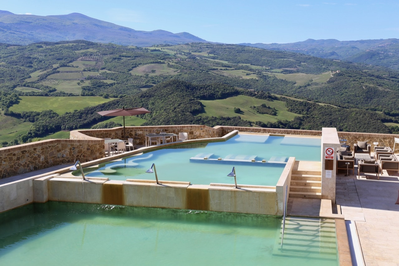 Jaw-dropping view overlooking Castello di Velona's rooftop pool and spa.