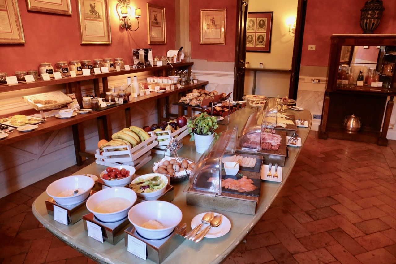Guests at Grand Hotel Continental Siena enjoy a Tuscan brunch buffet each morning.