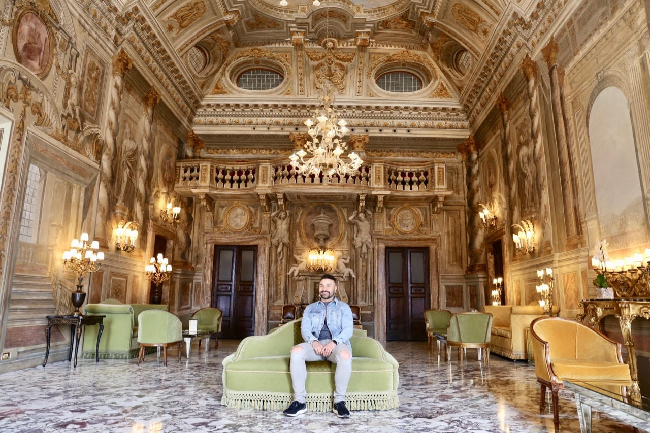 The jaw-dropping Salone delle Feste at Grand Hotel Continental Siena.