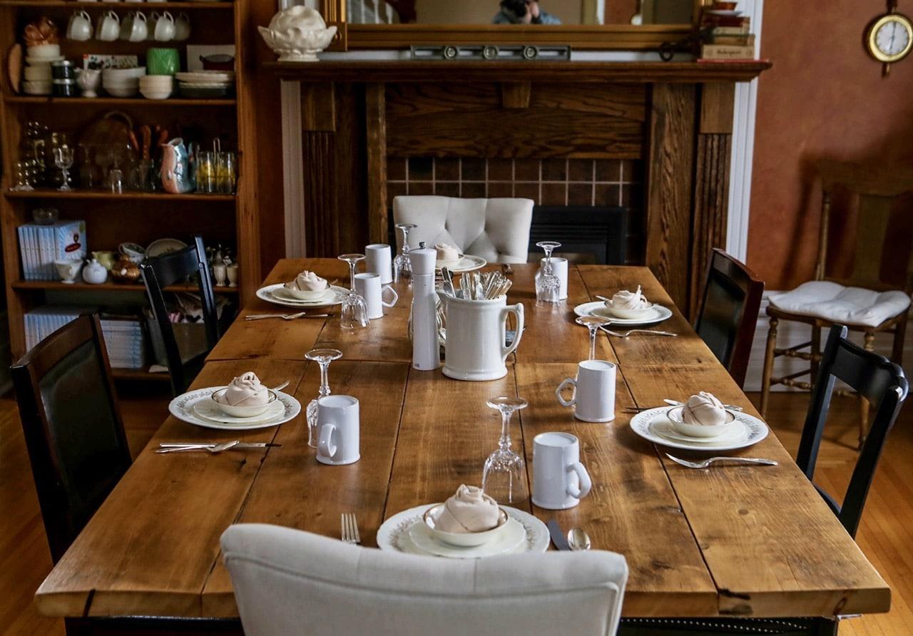 The dining room at Rosehurst B&B, a popular Stratford Bed and Breakfast.
