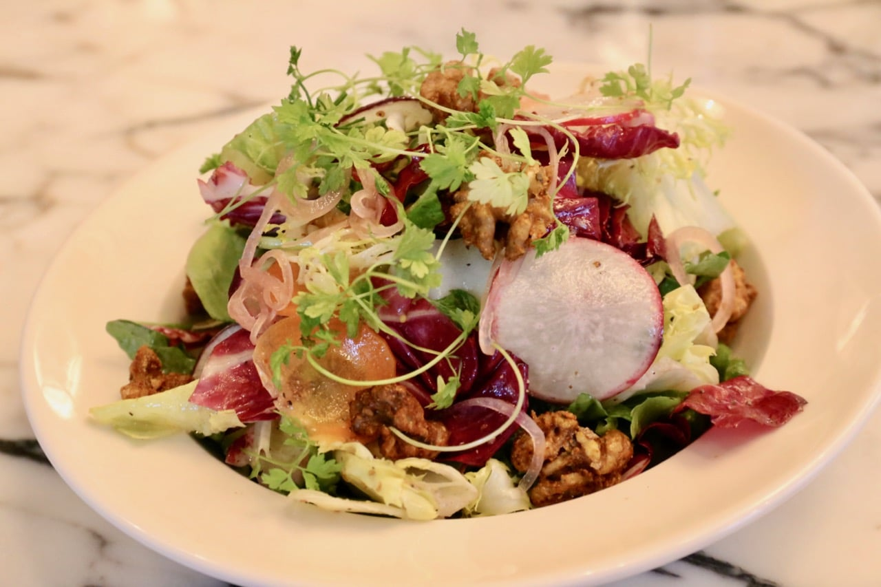 Escarole Salad with walnuts and dijon mustard dressing.