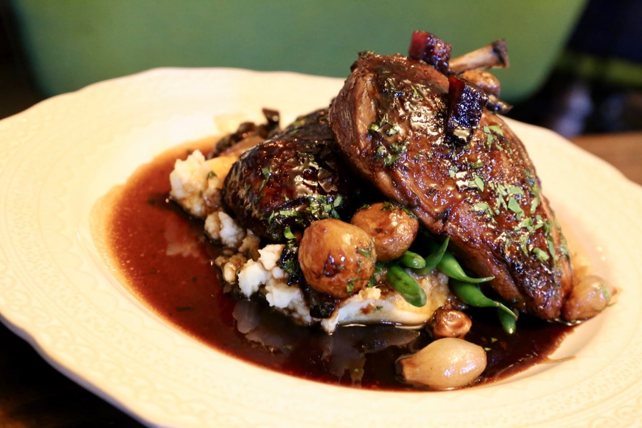 Maison Selby's Coq au Vin is served with pommes puree and red wine jus.