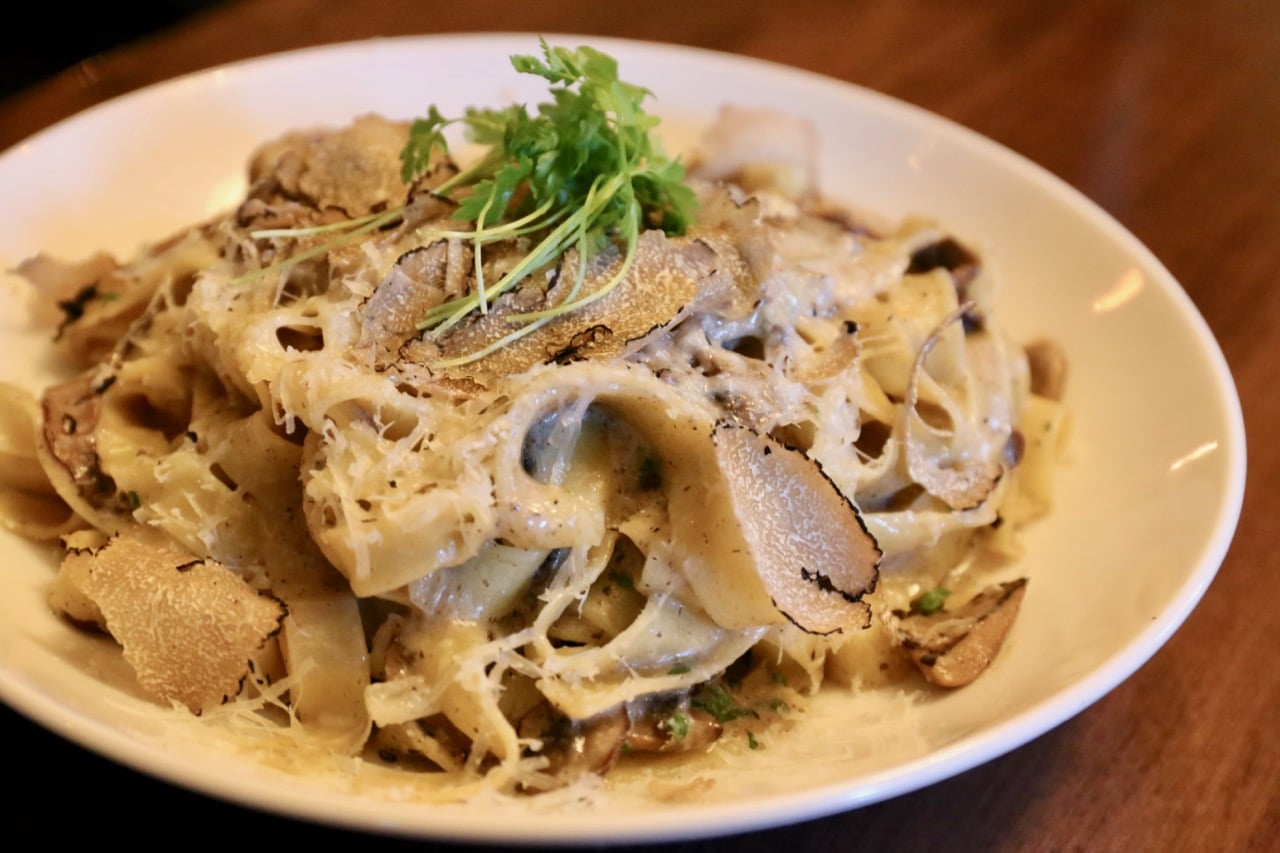 Maison Selby's Tagliatelle features shaved black truffle and cepes.
