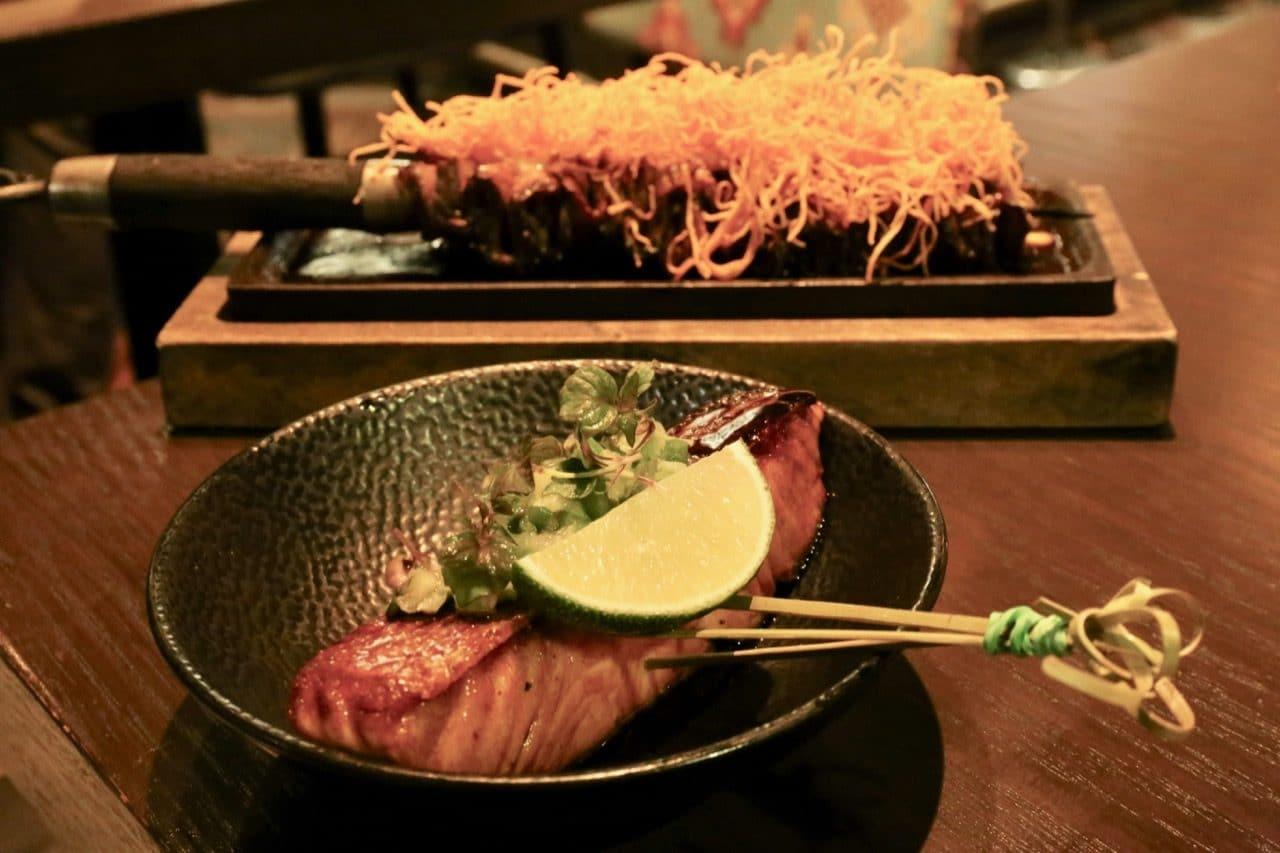"Salmon Teriyaki and ""short rib"" Costillas grilled on the Mira Toronto barbecue."
