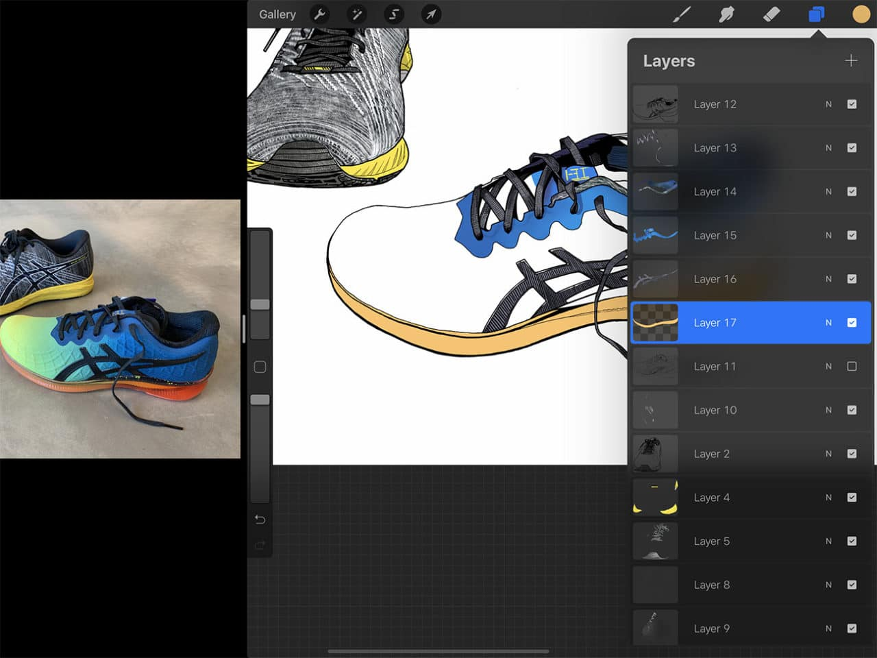 """Special digital drawing features like the """"alpha lock"""" are an advantage to drawing shoes on Procreate."""