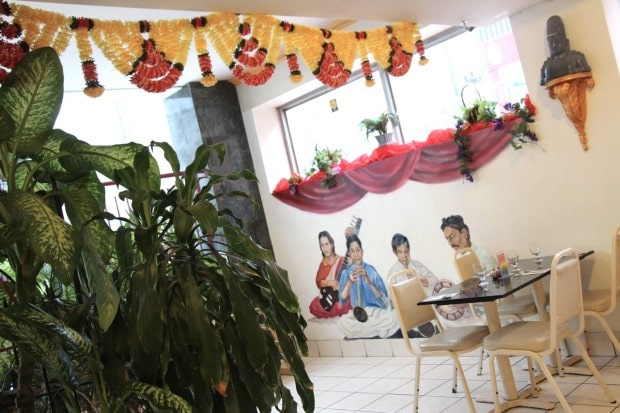 Indian and Hindu art decorate the interior of Udupi Palace.