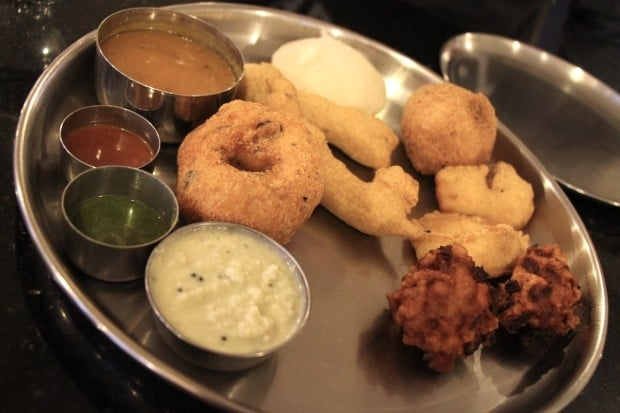 A selection of vegetarian appetizers at Udupi Palace restaurant in Toronto.