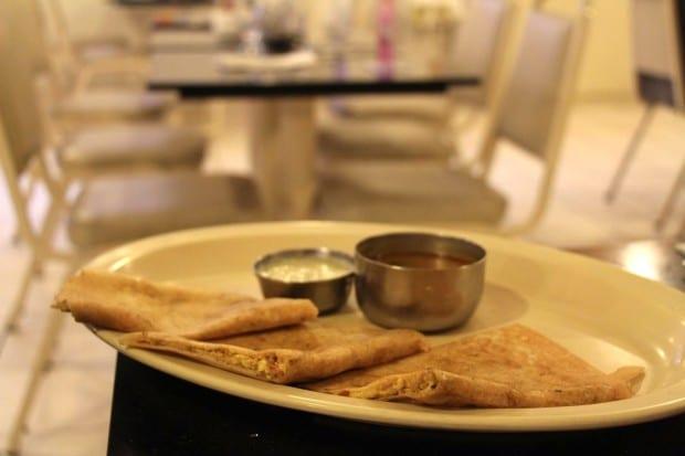 Indian Paneer Masala Dosa at Udupi Palace vegetarian restaurant.